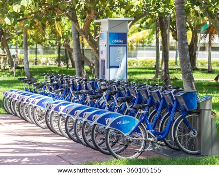 MIAMI, USA - SEPTEMBER 6, 2015: New ways of moving are available in Miami Beach. Affordable, green and healthy. - stock photo