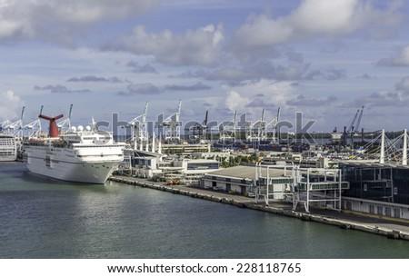 MIAMI, USA - SEPTEMBER 06, 2014 : The Port of Miami with cruise ship on September 06, 2014 in Miami. - stock photo