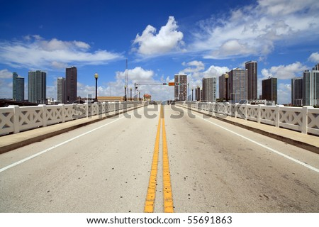 Miami Venetian Causeway Drawbridge and Skyline - stock photo