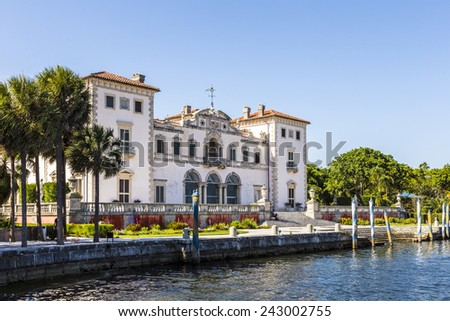 Miami Vizcaya museum at waterfront under blue sky - stock photo