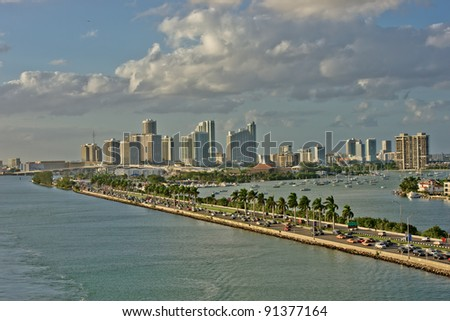 Miami waterfront homes at sunset