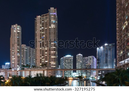 Miami waterfront skyline looking east along the Miami river - stock photo