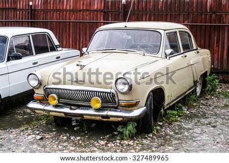 MIASS, RUSSIA - JUNE 28, 2008: Old soviet sedan car GAZ 21 Volga at the used cars trade center. - stock photo