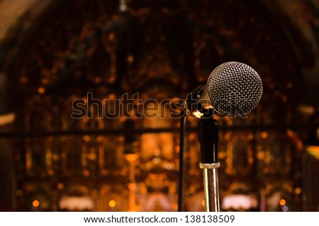 Mic in the church. Selective focus on the microphone