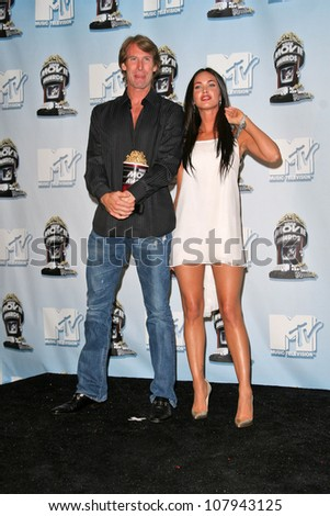 Michael Bay and Megan Fox at the 2008 MTV Movie Awards Press Room. Gibson Amphitheatre, Universal City, CA. 06-01-08 - stock photo