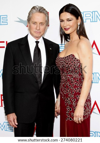 Michael Douglas and Catherine Zeta-Jones at the 37th AFI Lifetime Achievement Award: A Tribute to Michael Douglas held at the Sony Pictures Studios in Culver City on June 11, 2009. - stock photo