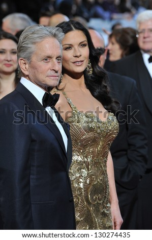 Michael Douglas & Catherine Zeta-Jones at the 85th Academy Awards at the Dolby Theatre, Hollywood. February 24, 2013  Los Angeles, CA Picture: Paul Smith - stock photo