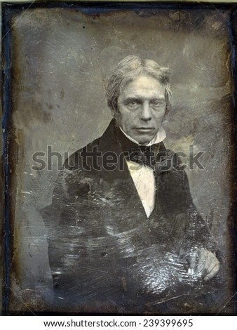 Michael Faraday (1791-1867) English physicist of electromagnetism and inventor of the electric generator. Daguerreotype by Mathew Brady, ca.1852. - stock photo