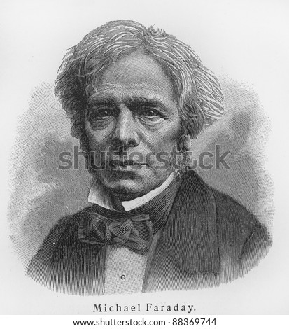 Michael Faraday - Picture from Meyers Lexicon books written in German language. Collection of 21 volumes published between 1905 and 1909. - stock photo