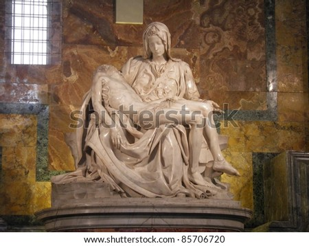 Michaelangelo marble sculpture of the Pieta in st. Peter's Cathedral (Rome) - stock photo