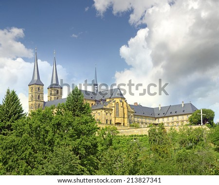 Michaelsberg Abbey in Bamberg, Germany. The historic center of Bamberg is UNESCO World Heritage Site - stock photo