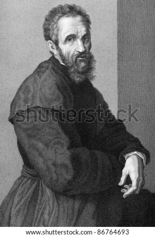 Michelangelo (1475-1564). Engraved by G.P.Lorenzi and published in Uffizi Gallery of Florence engraving collection, Italy, 1841. - stock photo