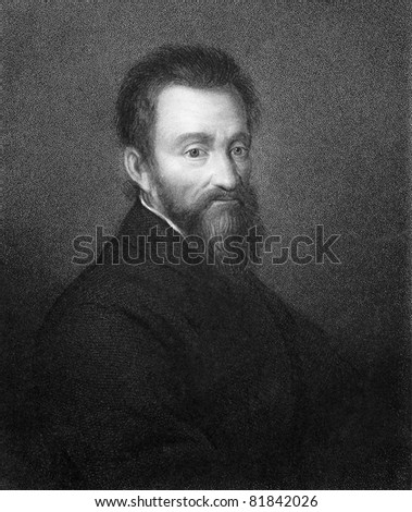 Michelangelo (1475-1564). Engraved by R.Woodman and published in The Gallery of Portraits with Memoirs encyclopedia, United Kingdom, 1837. - stock photo