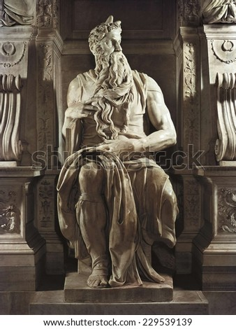 Michelangelo (1475-1564), Moses, 1513-1515, Rome, Church of San Pietro in Vincoli, Renaissance art - stock photo