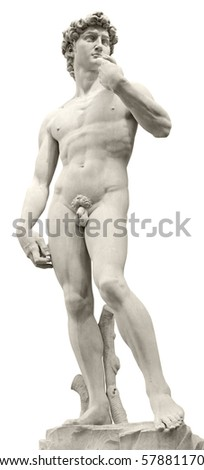 Michelangelo's David isolated on white by clipping path. Piazza della Signoria, Florence, Italy. - stock photo
