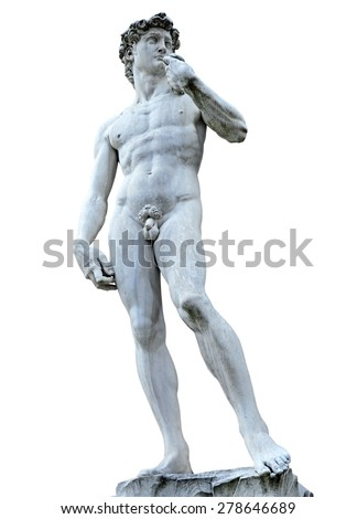 Michelangelo's David isolated on white with clipping path. Piazza della Signoria, Firenze, Italy (clipping path) - stock photo