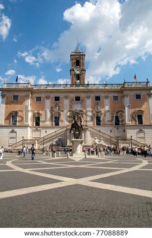Michelangelo's Piazza del Campidoglio in Rome's Capitol Hill. - stock photo