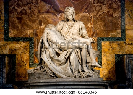 Michelangelo's Pieta in St. Peter's Basilica in Rome. - stock photo
