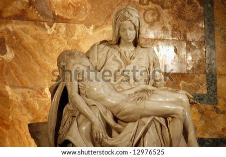 Michelangelo's Pieta in St. Peter's Basilica in Rome. c 1498-99