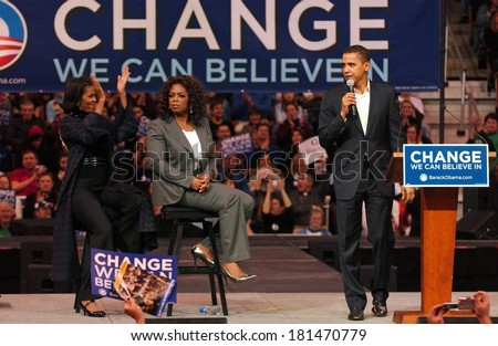 Michelle Obama, Oprah Winfrey, Barack Obama attending Barack Obama Campaign Rally for Democratic Presidential Primary with Oprah Winfrey, The Verizon Wireless Arena, Manchester, December 09, 2007 - stock photo