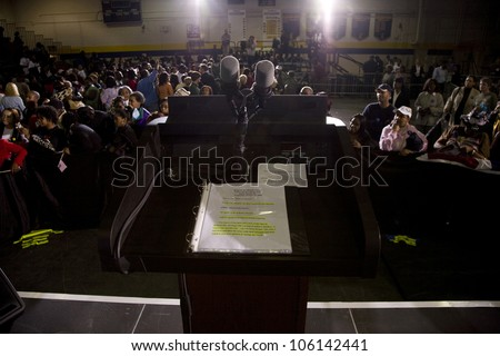 Michelle Obama's speaking podium during Barack Obama Presidential Rally, October 29, 2008 in Rocky Mount High School, North Carolina - stock photo