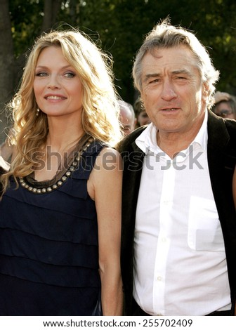 "Michelle Pfeiffer and Robert De Niro attend the Los Angeles Premiere of ""Stardust"" held at the Paramount Pictures Studios in Hollywood, California, on July 29, 2007. - stock photo"
