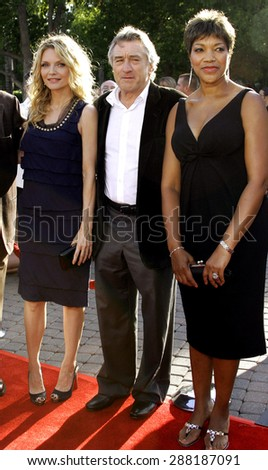 "Michelle Pfeiffer, Robert De Niro and Grace De  Niro attend the Los Angeles Premiere of ""Stardust"" held at the Paramount Pictures Studios in Hollywood, California, on July 29, 2007. - stock photo"