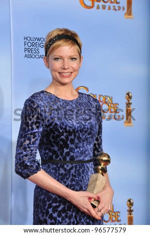Michelle Williams at the 69th Golden Globe Awards at the Beverly Hilton Hotel. January 15, 2012  Beverly Hills, CA Picture: Paul Smith / Featureflash - stock photo