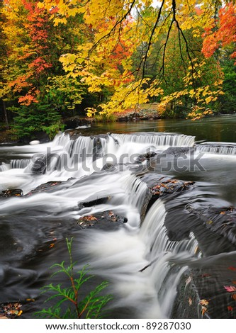 Michigan Autumn Waterfall, Bond Falls USA - stock photo