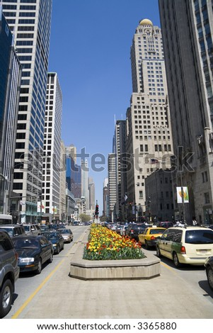 Michigan Avenue, downtown Chicago, IL - stock photo