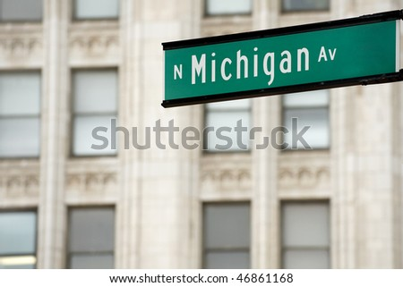 Michigan Avenue street sign, downtown Chicago - stock photo