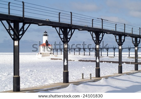 Michigan City East Pierhead Lighthouse - stock photo