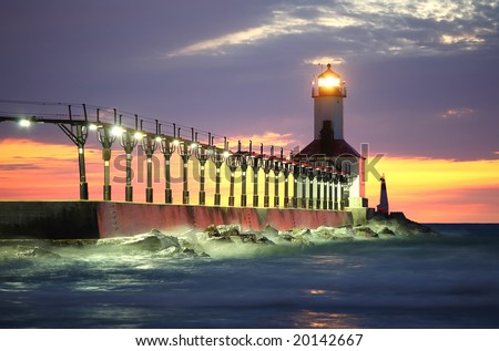 Michigan City Lighthouse, Michigan City Indiana - stock photo