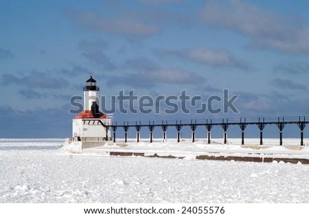 Michigan City Pierhead Breakwater Lights and Fog Signal - stock photo