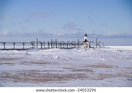 Michigan City Pierhead Breakwater Lights and Fog Signal, Michigan City, Indiana, USA - stock photo
