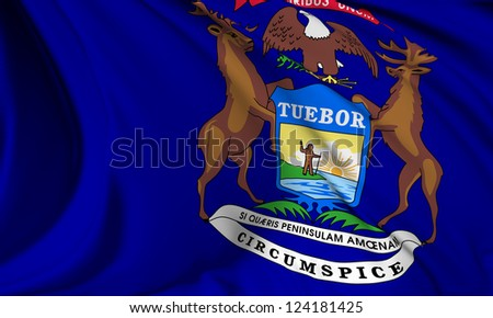 Michigan flag - USA state flags collection no_3 - stock photo