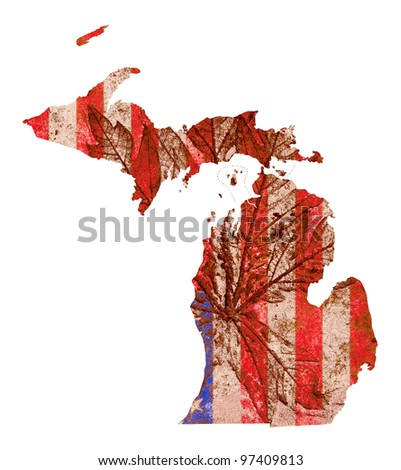 Michigan state of the United States of America in grunge flag pattern isolated on white background - stock photo