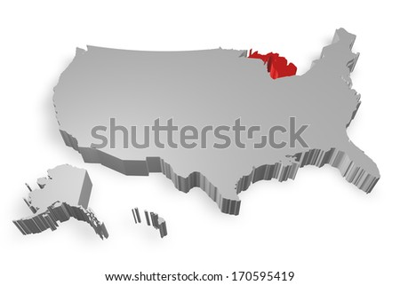 Michigan state on Map of USA 3d model on white background - stock photo
