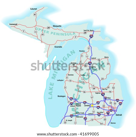 Michigan State Road Map Interstates Us Stock Vector - State map of michigan