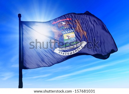 Michigan (USA) flag waving on the wind - stock photo