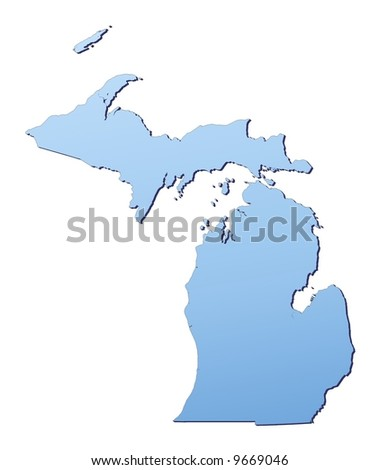Michigan(USA) map filled with light blue gradient. High resolution. Mercator projection. - stock photo