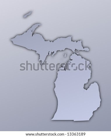 Michigan (USA) map filled with metallic gradient. Mercator projection. - stock photo