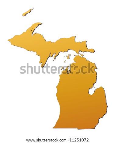 Michigan (USA) map filled with orange gradient. Mercator projection. Original rendered image using public domain data(coordinates). - stock photo