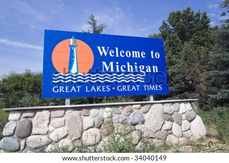 Michigan Welcome Sign - summer time. - stock photo