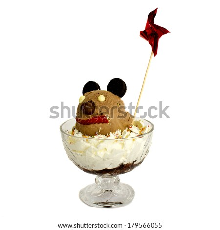 Mickey. Chocolate scoop ice cream with mickey mouse shape and decoration mill isolated on white background. - stock photo