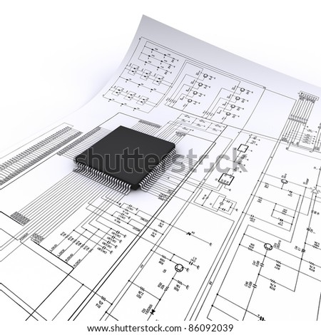 micro chip - stock photo