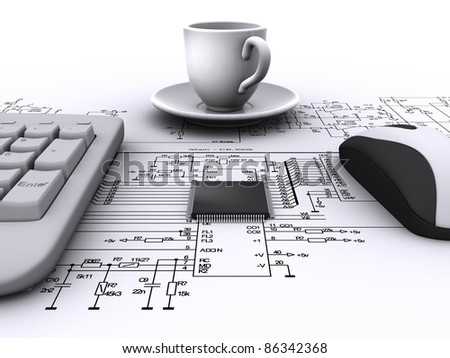 micro chip, keyboard, mouse, coffee cup on the background electrical schematic - stock photo