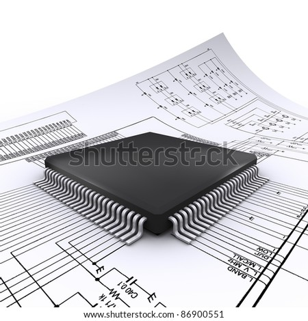 micro chip on the electrical scheme - stock photo