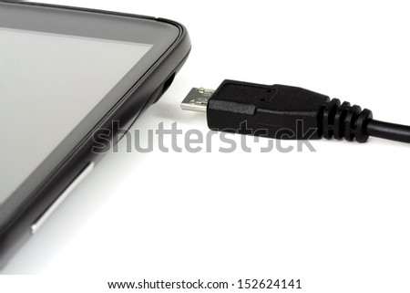 Micro, USB cable, data cable, charger, smart phone - stock photo