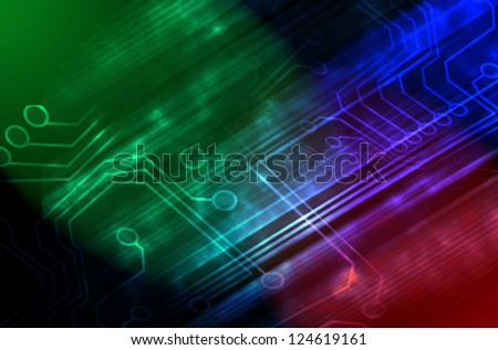 Microchip background in color - technology concept - stock photo